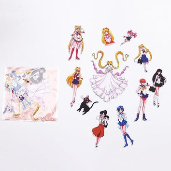 10PCs/Pack Watercolor Sailor Moon Girls Suitcase Paper Stickers Daily Scrapbooking Stationery School Supplies Sticker M0299