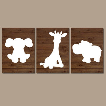 Baby Boy Nursery Wall Art Prints Animal Nursery Elephant Wall Art Boy Art Boy Bedroom Wall Art Print on Wood Elephant Giraffe Hippo Set of 3