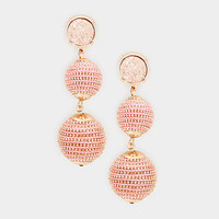 Pink & Rose Gold Round Druzy Stone Drop Double Thread Ball Earrings