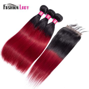 FASHION LADY Pre-Colored 1B/Burgundy Ombre Brazilian Straight Hair 3 Bundles With Lace Closure 100% Human Hair Weave Non-Remy