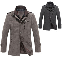 Shoulder Epaulets Zippered And Buttoned Front Closure Men Coat
