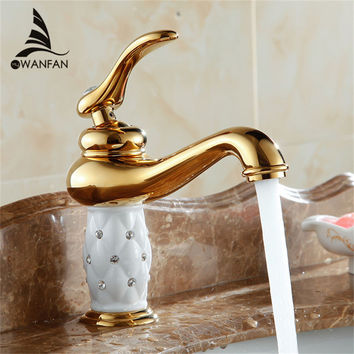 Free Shipping bathroom basin gold faucet Brass with Diamond crystal body tap New Luxury Single Handle hot and cold tap 7301K