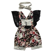 Lovely Toddler Baby Girl Clothing Summer Lace Backless Romper Short Sleeve Flower Cute Jumpsuit Sundress Clothes