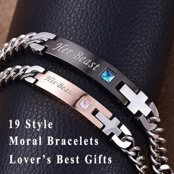 19 Style His and Hers Lover Bracelets Bangle Stainless Steel Matching Lettering Bracelets for Couple Women Men Jewelry Valentine