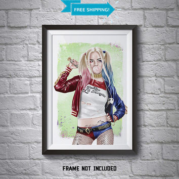 Harley Quinn Poster - Wall Art Poster - A4 Poster - Suicide Squad Poster - Printed Movie Poster - Boys Room Decor - Harley Quinn Print