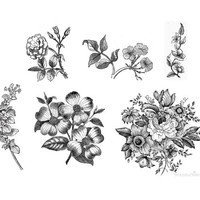 vintage black and white floral - 6 temporary tattoos
