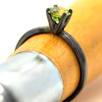 Peridot Ring in Oxidized Sterling, Silver Tiffany Style Ring, August Birthstone Ring