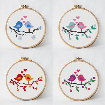 4 cross stitch pattern tree with birds, 4 seasons, love cross stitch, heart cross stitch PDF pattern instant download