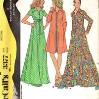 McCall's Retro Boho Hippie Sewing Pattern 1970s Fashion Maxi Dress Gown Caftan Robe Housedress Size Medium Bust 34