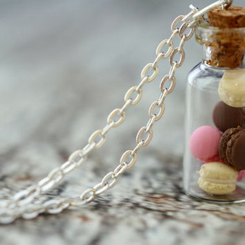 Miniature MACARON vial necklace. Vanilla, Chocolate, Strawberry macaroons. Miniature food jewelry