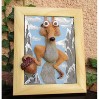 3D wall picture, Ice Age, funny squirrel, Polymer clay, Handmade, Scrat, Funny gift, Nursery decor, squirrel and an acorn, funny 3D picture