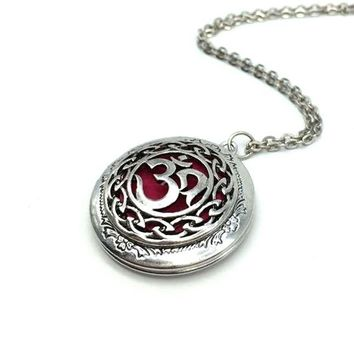ANTIQUE SILVER PLATED OM LOCKET/DIFFUSER NECKLACE - Locket Necklace