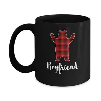 Red Boyfriend Bear Buffalo Plaid Family Christmas Pajamas Mug