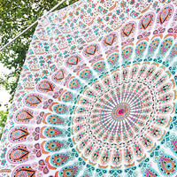 White Mandala Tapestry,Twin Wall hanging, hippie bedding, Bohemian Beach Tapestries, Indian Table Cloth, Gypsy cotton Bedspread Home Decor