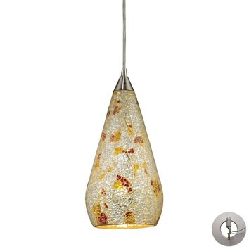 Curvalo 1 Light Pendant In Satin Nickel And Silver Multi Crackle Glass - Includes Recessed Lighting Kit