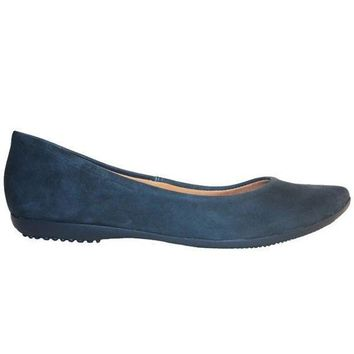 CREYONIG Chelsea Crew Grace - Blue Slip-On Pointy Toe Flat