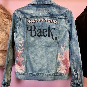 Watch Your Back Graphic Jean Jacket
