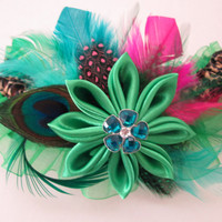 Leopard Wedding Garter, Kelly Green PROM Garter, AppleGreen Kanzashi Flower Garter, Peacock Garter, Edgy Statement, Masquerade Ball, Venice