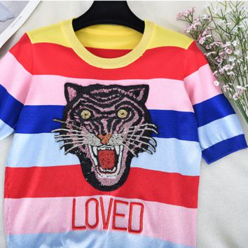 GUCCI New Summer Sequin Tiger Head Embroidery Colored Rainbow Stripe Short Sleeve Knit Top T-shirt
