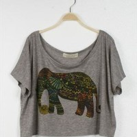 L 071307 Colorful elephant T-shirt-2 from cassie2013