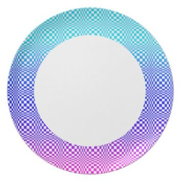 Abstract L Blue Pink n Purple Melamine Plate