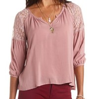 Lace Yoke Notched V-Neck Swing Top by Charlotte Russe