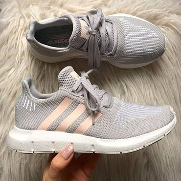 Adidas Originals Swift Run Fashion Women Men Breathable Running Sports Shoes Sneakers Grey
