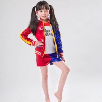 DCCKH6B Takerlama Kids Girls Joker Suicide Squad Harley Quinn Cosplay Jacket Suit Outfit Full Set Halloween Children Gift Jacket Costume