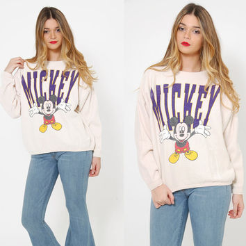 Vintage 90s MICKEY MOUSE Sweatshirt NOVELTY Pullover Dolman Sleeve Sweatshirt Hipster Top