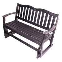 Eucalyptus Wood Patio Loveseat Outdoor 2-Seat Glider Chair in Black