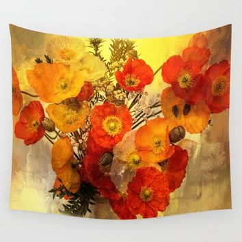 Poppy Expressions Wall Tapestry by Theresa Campbell D'August Art