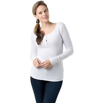 LAmade Womens Thermal Fitted Henley Top