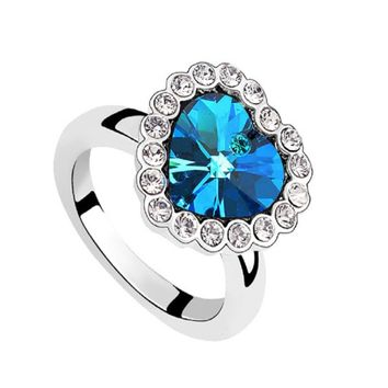 Blue Sapphire Rings Heart Plated Silver Ring
