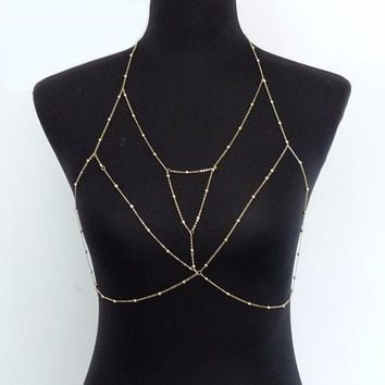 Bustier Crop Top Sequined Sexy Gold Rhinestone Women's Bra Chain Cropped Women Party Short Beach Home Bralette Tank Tops