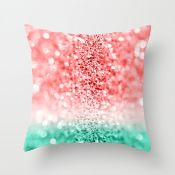 Watermelon Gradient Glitter Throw Pillow by Tangerine-Tane
