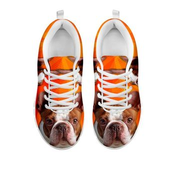 Cute Red Boston Terrier Sneakers For Women- Free Shipping-For 24 Hours Only