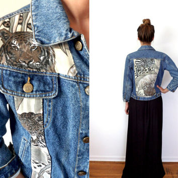 Reconstructed Wild One Animal Print Vintage Lee Denim Jacket