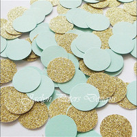 Party Confetti, Mint Green And Gold Glitter, Table Decoration, Wedding Supply, Bridal Showers, Birthday Party, 50th Anniversary, 200 Pieces