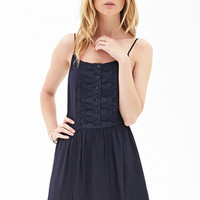 FOREVER 21 Crochet Lace Cami Dress Navy