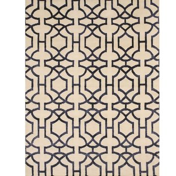 EORC Hand-knotted Wool & Viscose Ivory Transitional Geometric Tibetan Rug