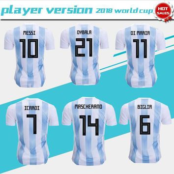 Player version 2018 world cup Argentina home Soccer Jersey Argentina#10 MESSI soccer shirt #21 DYBALA #9 AGUERO home Football uniforms sales