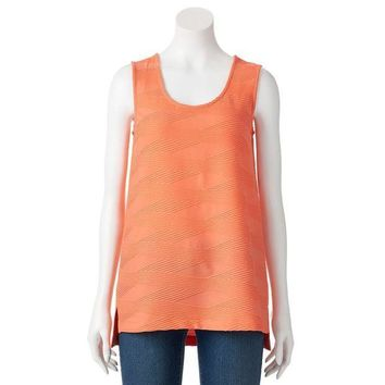 Dana Buchman Textured High Low Scoopneck Top   Women's Size:
