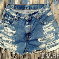 Destroyed Trashed Denim Shorts (SMALL)