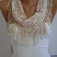 Cream- Ivory Lace Scarf- Shawl Headband - Cowl with Lace Edge
