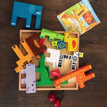 Tetris Animals Wooden Jigsaw Puzzle Children Kids  Brain Teaser  Educational Toys and Games