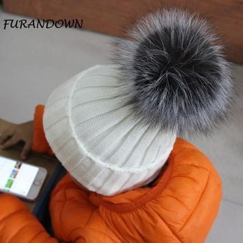 100% Real Fur pompoms Ball Kids Winter Warm Silver Fox Fur Hat For Baby Girls Boys Beanies Cap Crochet Children Knitted Hats