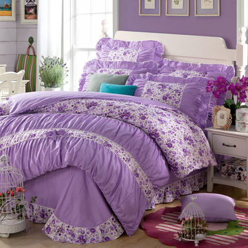 YADIDI 100% Cotton Girls Princess Purple Bedding Sets Bedroom Bed Duvet Cover Twin Full queen King size comforter set
