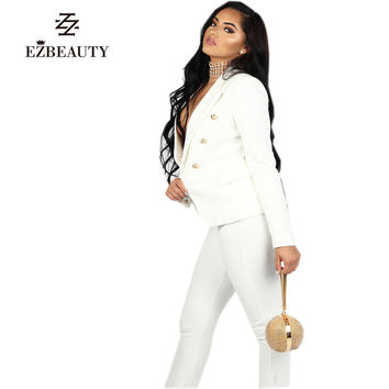 Spring Fashion White Pant Suit Women Long Sleeve Set Office Womens Business Suits OL Sexy Ladies Pants and Blazer Sets