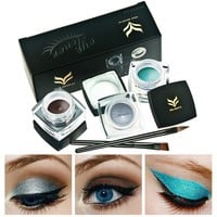 3Pcs Professional Waterproof Cosmetic Eye Liner Eyeliner Gel With 2pcs Makeup Brush Set 24 Hours Long-lasting