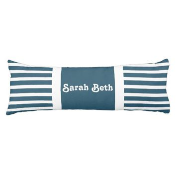 Cute Stripes, Slate Blue & White, Add your name Body Pillow